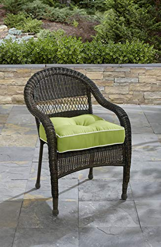Wicker Chair Cushion - Tempo Seat Cushion, Solid Colors, Soft, 19.5 x 19.5 x 6 (Verde)