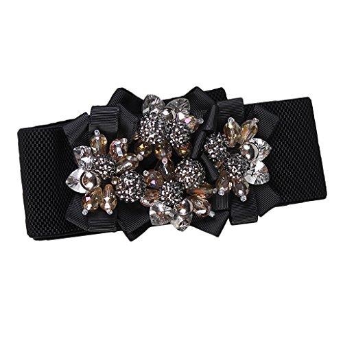 Prettyia Cinturón de Hebilla de Flores Imitación Mujer Ancho Elástico Regalo para Amigo - Oro, Único