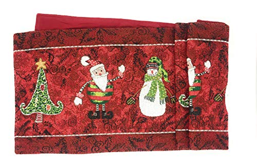 Antique Santa Claus - Tache Home Fashion Here Here Comes Santa Claus Antique Vintage Christmas Eve Traditional Holiday Season Red Decorative Woven Tapestry Table Runners, 13x54,