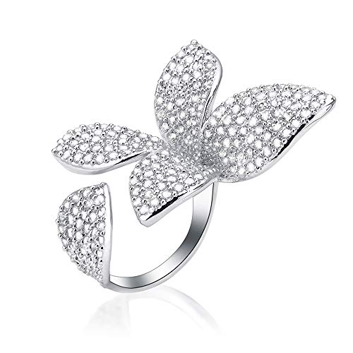 (dnswez Two Finger Ring Flower Open Cubic Zirconia Sparkly CZ Silver Cluster Cocktails Enage Butterfly Statement Rings for Women Girl Adjustable Size 7-9 )