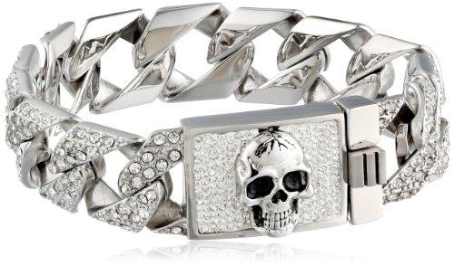 "Men's Stainless Steel Skull Clear Crystals Link Bracelet, 3"""