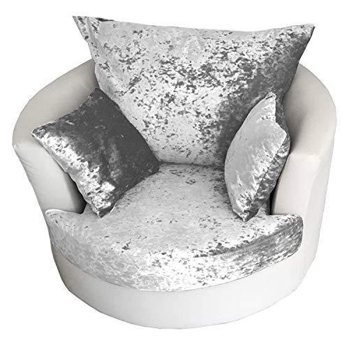 Astonishing Shannon Corner 3 2 Seater Leather And Crushed Velvet Fabric White And Silver Cuddle Chair Inzonedesignstudio Interior Chair Design Inzonedesignstudiocom