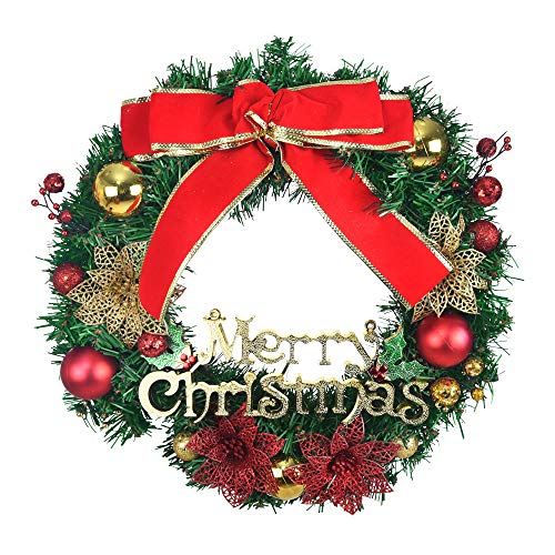 40cm 16 Inch Merry Christmas Wreath Ball Rattan Berry Gold Leaves Poinsettia Autumn Fall Wreaths for Front Door Wall Window Decoration Ornament for Wedding Party Holiday Festival Christmas Décor (Red)