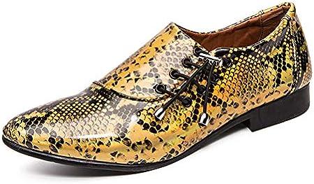 TAZAN Oxford Zapato De Negocio De Zapatos De Los Hombres En Los Zapatos De Cuero De Cuero De Patente Smoking Encaje Zapatos Serpiente Señaló Los Zapatos De Oro De La Plata Púrpura 39-46EU