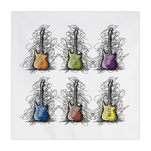 iPrint Satin Square Tablecloth,Music Decor,Sketchy Lined Colored Design Guitar Collage for Teens Rocker Song Lovers Image,Multicolor,Dining Room Kitchen Table Cloth Cover ()