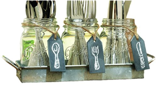 Three (3) Clear Glass Mason Jars with Hanging Chalkboards on Galvanized Tray with Handles ~ Flatware Caddy Organizer Set for Home & Parties (Caddy Stemware)