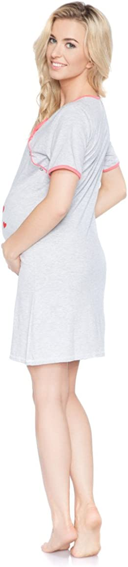 Camicia da Notte Donna Pigiama Abito maternit/à per Le Donne Incinte Manica Corta Comodo Bel 100/% Cotone Indumenti da Notte S M BeComfy L XL