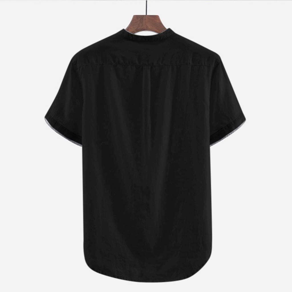 TOPUNDER Mens Baggy Cotton Linen Solid Short Sleeve Button Retro T Shirts Tops Blouses