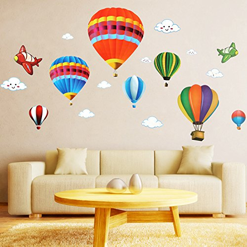 Amaonm removable creative 3d hot air balloon aircraft and for Balloon decoration for kids