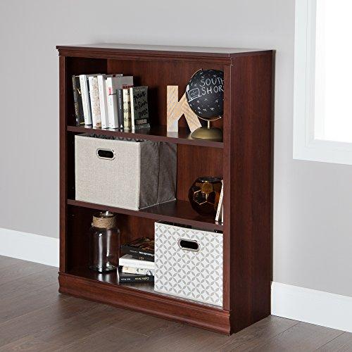 South Shore Morgan Small 3-Shelf Bookcase - Adjustable Shelves, Royal Cherry