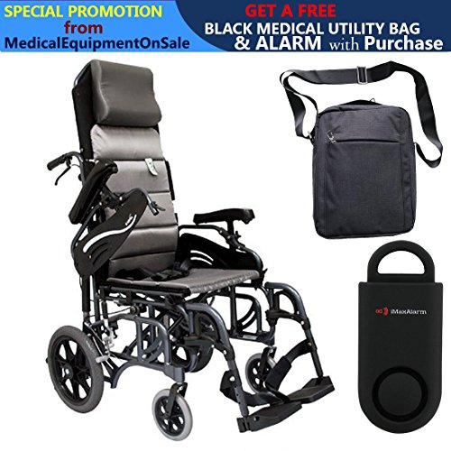 (Karman VIP-515 Aluminum Lightweight Transport Wheelchair, Upgraded to Elevating Legrests, 16
