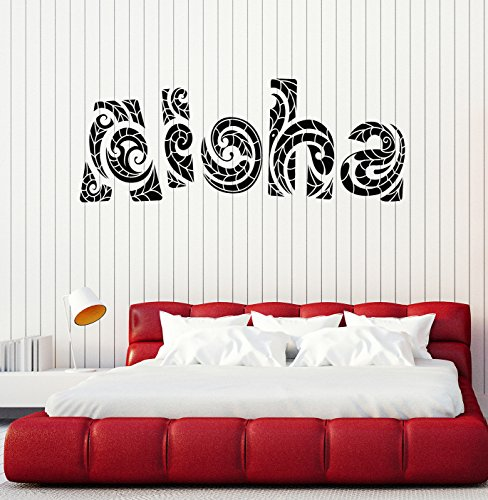 Vinyl Wall Decal Aloha Hawaiian Lettering Hawaii Surfing Art Stickers Mural Large Decor (ig4973) Flame Red