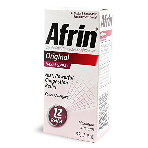 Afrin Original Maximum Strength Nasal Decongestant Spray 0.5 oz (Pack of 6) by Afrin