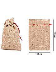 Set di 24 sacchi di iuta | Sacchettini | Naturale | Decorazione natalizia | Corda Rossa Chiusura | Calendario avvento | DIY | Fai da te | Regalo | Natale | Inverno, 24 pezzi 19 cm x 13 cm JS-02