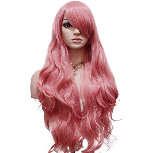 YOPO 32 Wigs Long Wavy Hair Wig with Bangs Cosplay Party Costume Natural Wig Synthetic Heat Resistant Fiber Wigs for Women(32 Pink)
