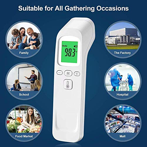 No-Contact Infrared Forehead Fever Thermometer Multifunctional Fever Alarm Memory Recall for Kids Infant Adult