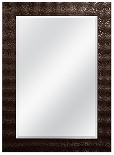 MCS 24 by 36-Inch Beveled Mirror, 32 by 44-Inch, Grid Finish, Bronze