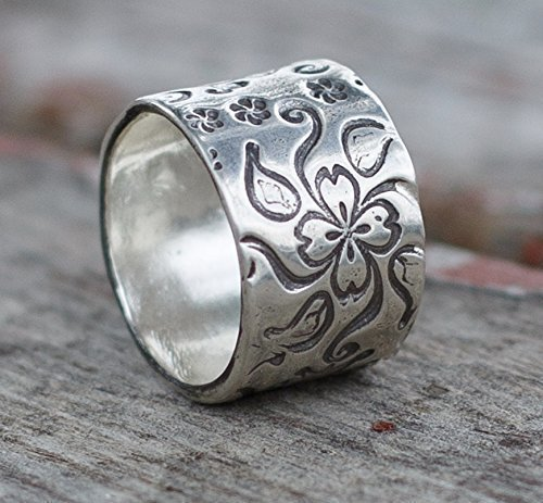 Flower Sterling Silver Wide Band Ring Size 10 Unique Proposal Wedding - Recycled Silver Wedding Band