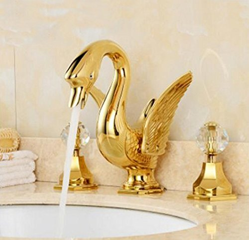 GOWE Widespread Golden Brass Bathroom Basin Faucet Animal Swan Faucet Dual Crystal Handles Vanity Sink Mixer Tap 0