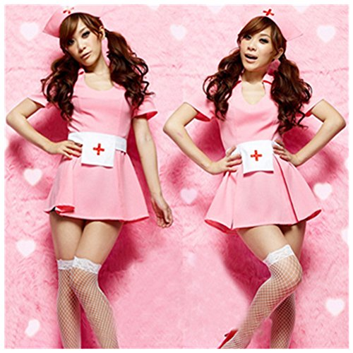 Playboy Bunny Costume Plus Size (Women Exotic Sexy Lingerie Nurse Cosplay Costumes Nurse Pink Dress Underwear)