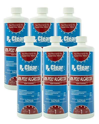 Rx Clear Swimming Pool Algaecide 60 Plus | Above or Inground Pools | Keeping Algae in Suspension | One Quart Bottles | 6 -