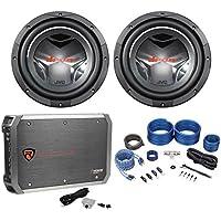 (2) JVC CS-GD1210 12 2800 Watt DVC Car Audio Subwoofers+Mono Amplifier+Amp Kit