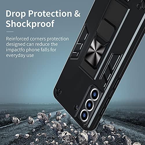 OCYCLONE Samsung Galaxy S21 Hülle, Dual Layer Schutzhülle S21 5G Cover Armor Stoßfest mit Magnet Ständer, Handyhülle für Samsung S21 6,2 Zoll - Schwarz
