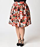 Unique Vintage Folter Plus Size Red & Nutcracker Print Holiday Flare Skirt
