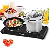Cusimax Double Burner, Portable Electric Stove, 1800W Infrared Burner Heat-up In Seconds, 7 Inch Ceramic Glass Hot Plate Double Cooktop for Dormitory Office Home Camp, Compatible with All Cookware