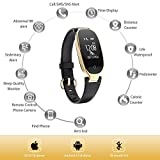 TOP-MAX Fitness Tracker Women Heart Rate Monitor Activity Sleep Monitor Waterproof Smart Bracelet for iOS or Android,, Gold (Black Gold)