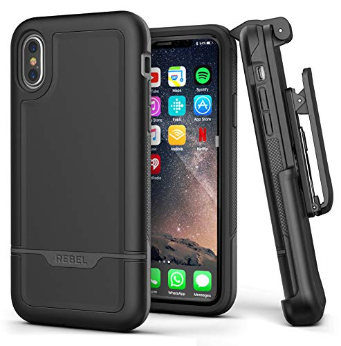 Encased iPhone Xs Max Belt Clip Holster Case, Heavy Duty Protective Cover with Rugged Holster Clip (Rebel Armor Series) Smooth Black