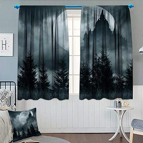Halloween,Blackout Curtain,Magic Castle Silhouette Over Full Moon Night Fantasy Landscape Scary Forest,Waterproof Window Curtain,Grey Pale Grey,W84 x L72 inch]()
