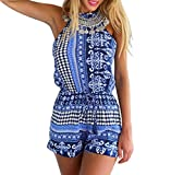 Ayliss Women's Sexy Cut out back Bohemian Casual Loose Romper Playsuit,Blue S