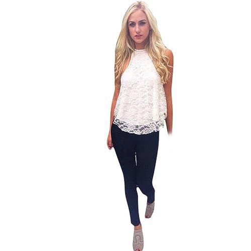 Amlaiworld Gilet donna,Estate Casual camicia senza maniche pizzo sciolto Vest Top camicetta