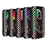 STUFF4 PU Leather Wallet Flip Case/Cover for Apple iPhone X/10 / Multipack (19 Pack) Design / F1 Track Flag Collection