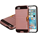 iphone SE Case,iphone 5s case, Arae Apple iphone 5/5S/SE [Card-slot] Hybrid Dual Layer Wallet Case,[Brushed Metal Texture] Back with Shock Absorbing TPU Inner Layer (Rosegold Gold)