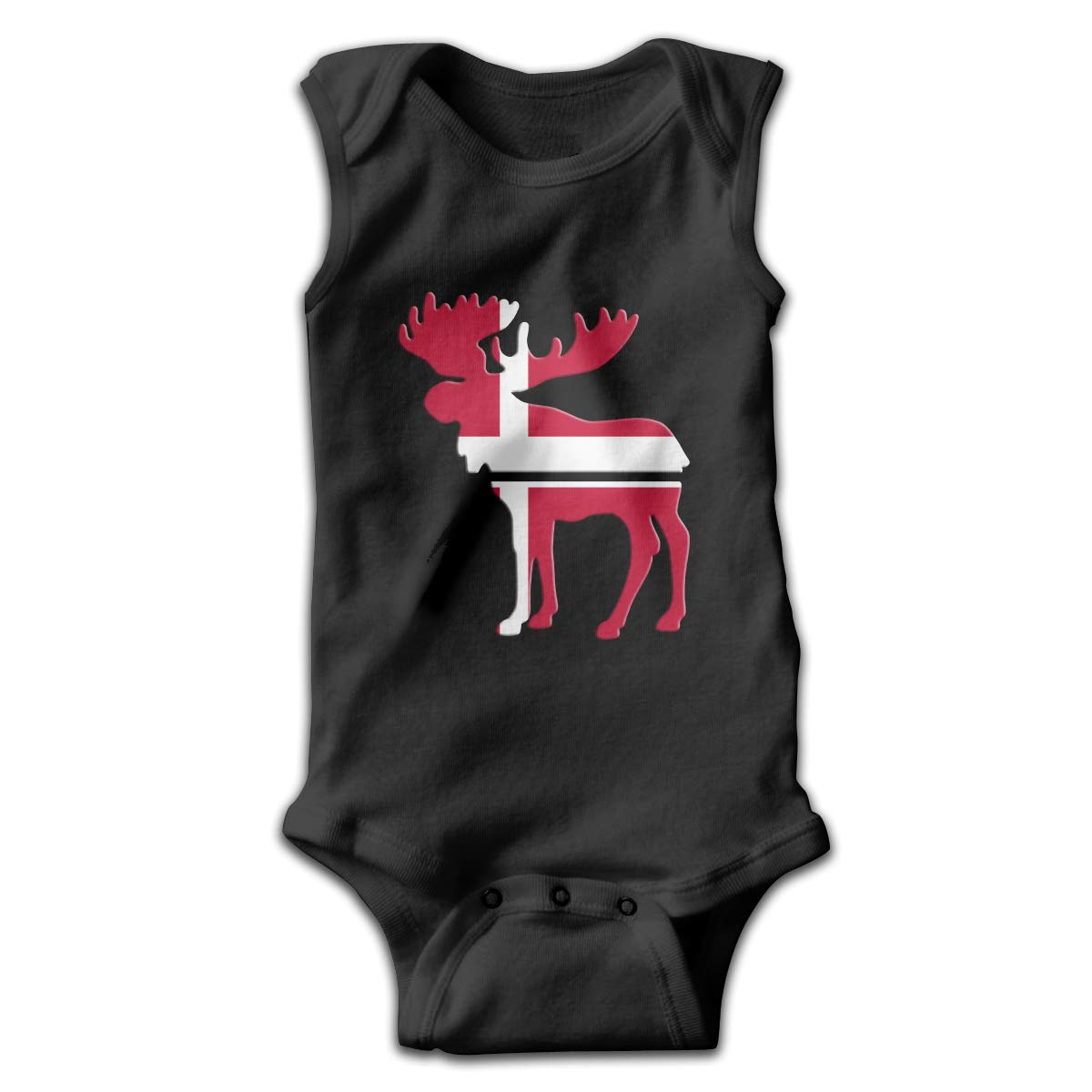 MMSSsJQ6 Moose Denmark Flag Infant Baby Boys Girls Crawling Clothes Sleeveless Romper Bodysuit Rompers Jumpsuit