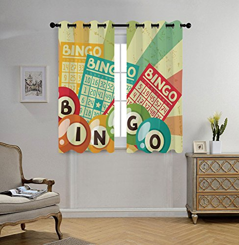 iPrint Stylish Window Curtains,Vintage Decor,Bingo Game with Ball and Cards Pop Art Stylized Lottery Hobby Celebration Theme,Multi,2 Panel Set Window Drapes,for Living Room Bedroom Kitchen Cafe by iPrint