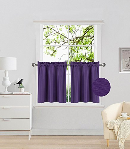 """Elegant Home 2 Panels Tiers Small Window Treatment Curtain Insulated Blackout Drape Short Panel 30""""W X 24""""L Each for Kitchen Bathroom or ANY Small Window # R16 (Purple)"""