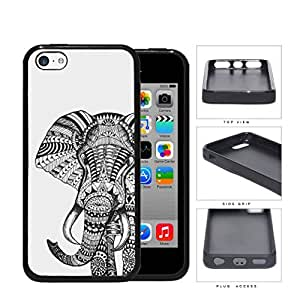 Elephant Aztec Grayscale Drawing Rubber Silicone TPU Cell Phone Case Apple iPhone 5c