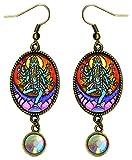 Goddess Kali Loving Mother Fierce Warrior Antique Bronze Rhinestone Earrings