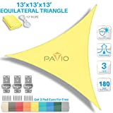 Patio Paradise 13' x 13' x 13' Canary Yellow Sun Shade Sail Equilateral Triangle Canopy - Permeable UV Block Fabric Durable Outdoor - Customized Available