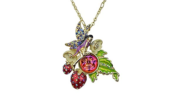 KIRKS FOLLY ROSY VIOLET BEADED MAGNETIC INTERCHANGEABLE NECKLACE GOLDTONE