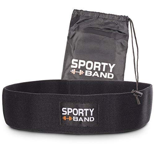 SportyBand Hip Resistance Bands - Premium Exercise Glute Band - Fabric Non Slip Hip Workout Band for Women & Men - Booty Circle Fitness Loop to Activate Hip Leg Thigh & Butt (Black - Xl (17x3 Inches)