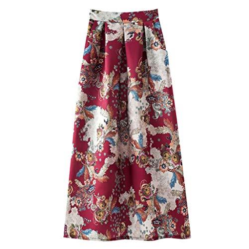 Opinionated Women's Summer Casual Retro Big Swing Skirt Bohemian Print Long Section Long Half-Length Ladies Dress ()