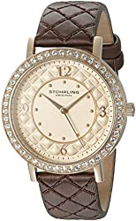 Stuhrling Original Women's 'Audrey 786' Quartz Stainless Steel and Leather Dress Watch, Color:Brown (Model: 786.02)