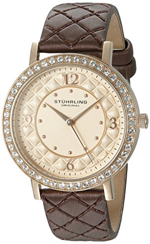 Stuhrling Original Women's 786.02 Quartz Crystal Brown Leather Strap Watch