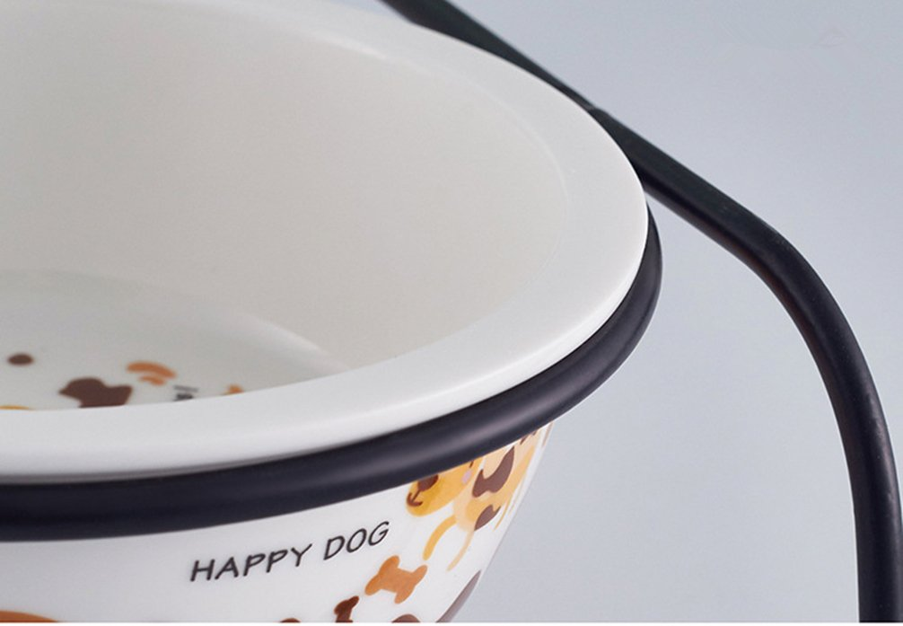 Be Good Pet Double Diner Feeder with Sturdy Non-Skid Elevated Iron Stand Wear-Resistant Dog Water Food Ceramic Double Bowls Set Perfect for Cat Dogs Puppies S by Be Good (Image #6)