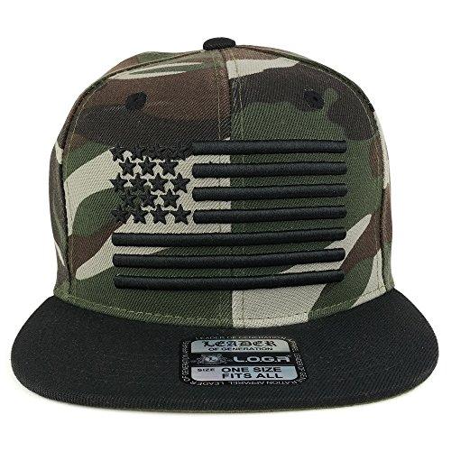 Trendy Apparel Shop USA American Flag 3-D Embroidered Flatbill Snapback Cap