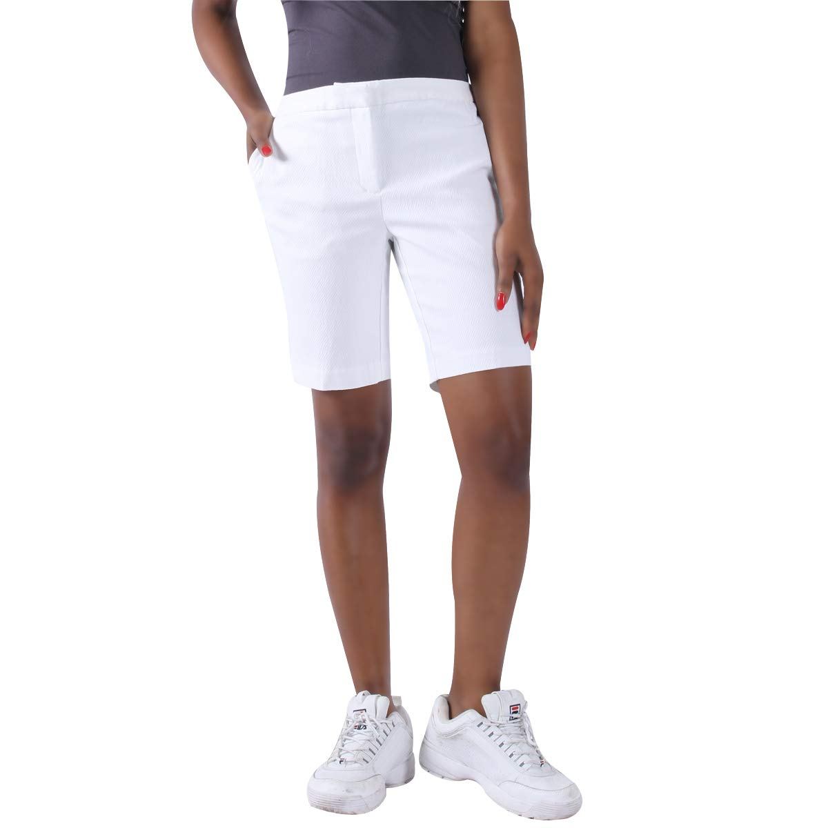 KELLY KLARK White Walking Shorts, Ladies' Elegant Modern Dress Shorts Bermuda, Size 14 by KELLY KLARK